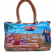 Beach Bag - Sea Side Cafe - Red