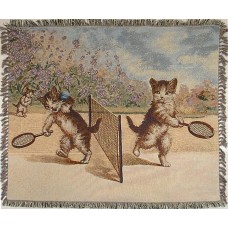 Tapestry Throw - Cats Playing Tennis