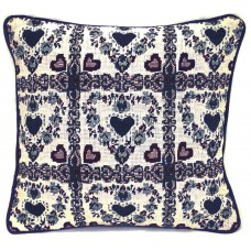 Cushion, Green/Mauve Hearts