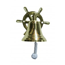 "Bell 3.5"" Dia. - Brass - Wall, Ship Wheel"