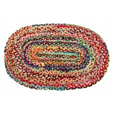 Braided Cotton - Oval Floor Mat - Multi Clr. Bright, 27X72""
