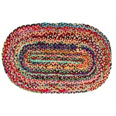 BRAIDED COTTON - OVAL FLOOR MAT - MULTI CLR. BRIGHT, 48X72""