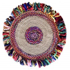 "BRAIDED COTTON-JUTE- ROUND FLOOR MAT- SOFT CLRS. 36"" ROUND"