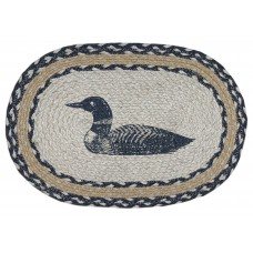 "Braided Jute Place Mat, Printed - 12X18"" Oval- Single Loon"