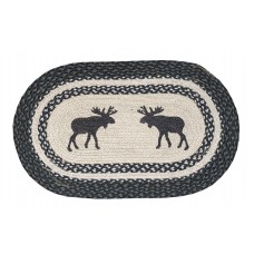 "Braided Jute Place Mat, Printed - Oval,12X18"" - Moose"