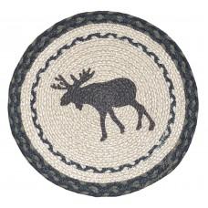 """Braided Jute Chair Pad, Printed-15"""" Round - Moose"""