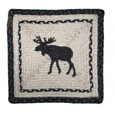 "Braided Jute Chair Pad, Printed-15"" Square - Moose"