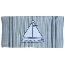 "Floor Mat, Ribbed Cotton, Sail Boat-28""X52"""