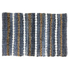 "CHINDI,  RUGS - 24X36"" - STRIPE DENIM/JUTE, HEAVY"