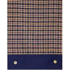 Tablecloth, Navy Plaid W/Gold Stripes