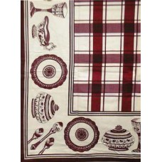 Tablecloth, Glazed Cotton, Burg & White Check