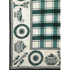 Tablecloth, Glazed Cotton, Green & White Check