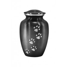 "Urn For Pets, Solid Metal, Steel Grey - 6"" Ht X 4"""