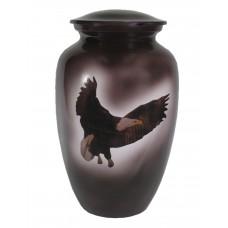 Urn - Solid Metal - Black Finish, Eagle