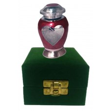 KEEPSAKE URN,  BRASS - ENAMELLED HEART IN VELVETG BOX