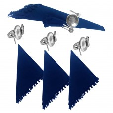 NAPKIN RINGS - SILV PLATED TABLE SETTING + Napkins (4+4) 8 Pcs. Set