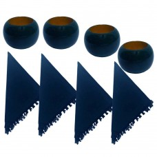NAPKIN RING, WOODEN NAVY  + Napkins  (4+4) 8 Pcs. Set