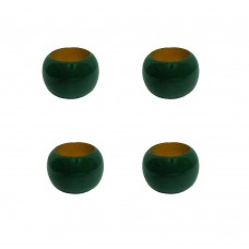 NAPKIN RINGS, WOODEN W/GREEN COLOR -SET OF 4 Pcs.