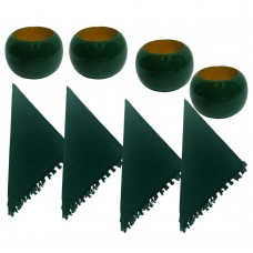 NAPKIN RINGS, WOODEN, GREEN + Napkins (4+4) 8 Pcs. Set