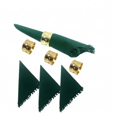 NAPKIN RINGS-BRASS, HEART CUT + Napkins (4+4) 8 Pcs. Set
