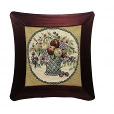 Cushion - Satin, Flower Basket- 17X17