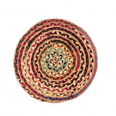 "BRAIDED RUG, JUTE/ MULTI CLR CHINDI - 24"" - ROUND"