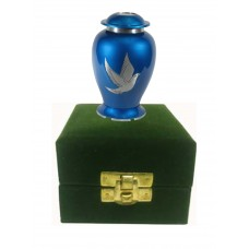 KEEPSAKE URN - BLUE FINISH, FLYING DOVES IN VLVT BOX
