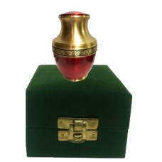 KEEPSAKE URN,  BRASS, RED ENAMELLED-IN VELVET BOX