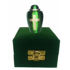 KEEPSAKE URN,  BRASS, WITH CROSS -IN VELVET BOX
