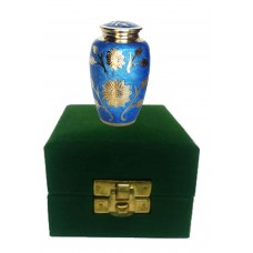 KEEPSAKE URN, COUNTRY FLORAL- BRASS,  IN VELVET BOX