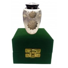 KEEPSAKE URN,  BRASS - COUNTRY FLORAL - IN VELVET BOX