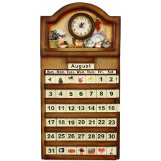"Calendar Wooden 22X11.5""- Clock, Country Kitchen"