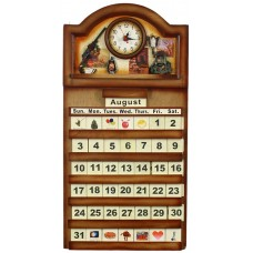 "Calendar Wooden - 22X11.5""-Clock, Hunting"