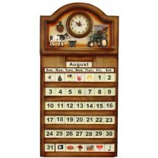 Calendar Wooden - Clock, Farm Tractor