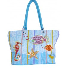 Beach Bag - Sea Horse And Fish - Ocean Blue