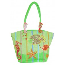 Beach Bag - Sea Horse And Fish - Green