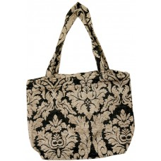 Shopping Bag Gusseted-Black/Beige