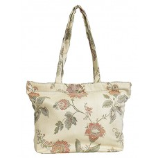Shopping Bag Gusseted-Floral, Beige