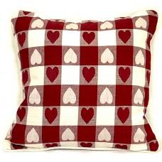 Cushion, Large Heart - Burgundy W/Zipper