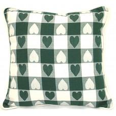 Cushion, Large Heart - Green W/Zipper