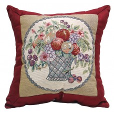 Cushion - Satin, Flower Basket- 17X17
