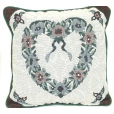 "Cushion, Single Floral Heart 18""X18"""