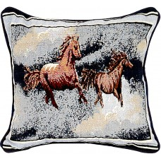 Tapestry Cushion, 17X17 - Horses