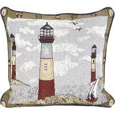 Tapestry Cushion, 17X17- Lt. Houses