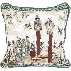 "Tapestry Cushion,17X17"" - Bird House"