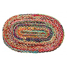 Braided Cotton - Oval Floor Mat - Multi Clr. Bright, 24X36""