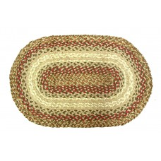 "Braided Jute - Oval Floor Mat - 24X36"" - Cntr Spice"
