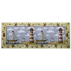 """Runner 54"""" - Nautical, Lt. House + Boat"""