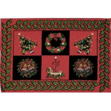 Place Mat, Christmas, +Gold Work Design-Red/Blk