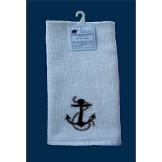 Kitchen Towels, White - Embrdrd Anchor